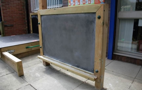 Chalkboard on posts with ledge - Low Road Pri Sch